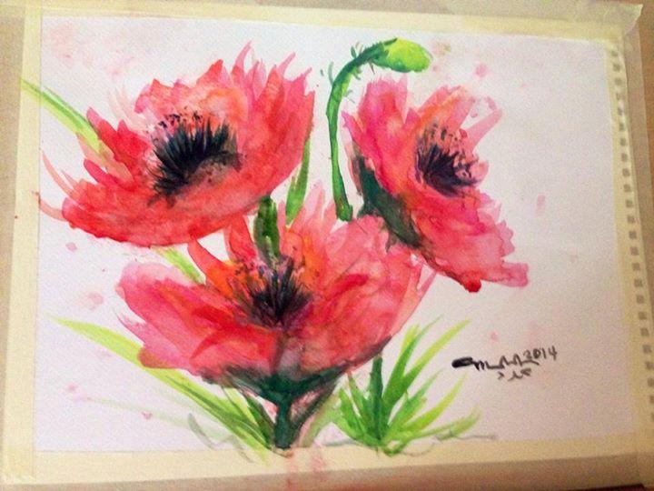 Poppies wet on wet watercolor