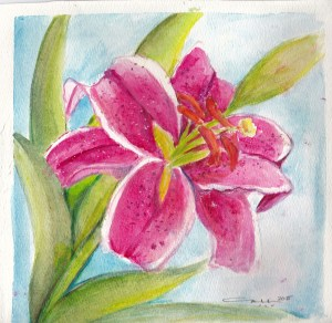 Stargazer lily in Watercolor