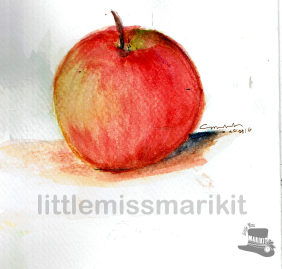Apple Practice. Watercolor.