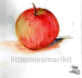 Apple Practice. Watercolor.