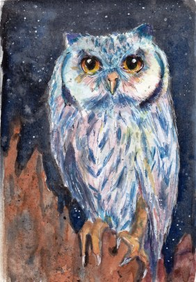 Rainbow Owl, watercolor 2016